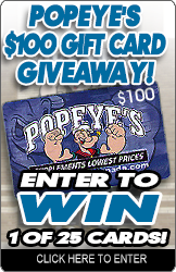 Popeye's $100 Gift Card Giveaway!
